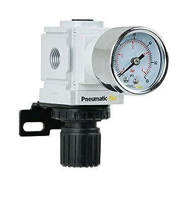 "PneumaticPlus PPR2-N02BG-4 Miniature Air Pressure Regulator 1/4"" NPT - Gauge, Bracket, Low Pressure (3-60 PSI) by PneumaticPlus"