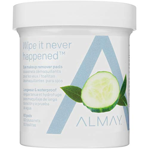 Almay Longwear & Waterproof Eye Makeup Remover Pads, Hypoallergenic, Free from Fragrance, 80 Pads
