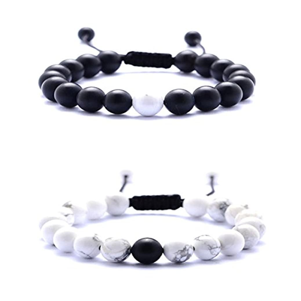 Couples Distance 8mm Beads Braided Bracelets - White Howlite and Black Matte Agate Couple Fashion Bracelet for Birthday Valentine Christmas (A#) qfwolgfiog