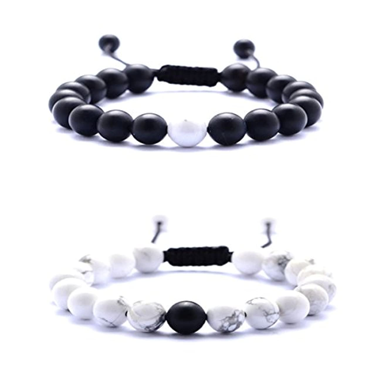 Couples Distance 8mm Beads Braided Bracelets - White Howlite and Black Matte Agate Couple Fashion Bracelet for Birthday Valentine Christmas (A#)
