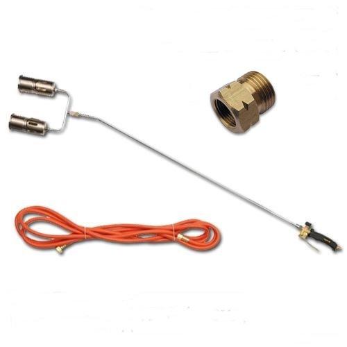 Unbekannt Aufschweißbrenner 2 Flammen Gasbrenner Unkrautvernichter Gaslötgerät Dachbrenner + Adapter