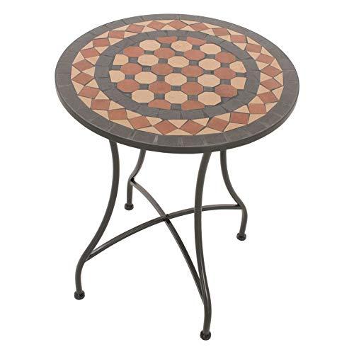 MACOShopde by MACO Möbel Mosaik Gartentisch Mosaiktisch Ira rund ø 60 Balkon/Terrassen-Tisch mit einzigartigem Muster Mehrfarbig Stahl