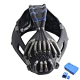 X-COSTUME Bane Mask The Dark Knight Rises Helmet Update Replica Mask with Voice Changer for Halloween Cosplay Costume Props Black (Black+Blue)