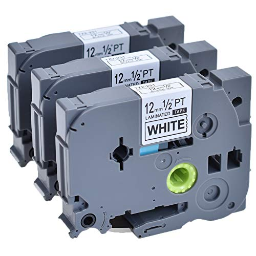 3 X Etikettenband Tce 231 Kompatibel Brother TZ 231 P touch TZE231 Schriftband 12mm Schwarz auf Weiß für 1000W 1010 1080 1830 1090