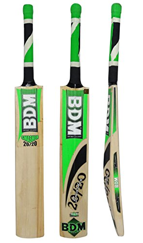 BDM Smasher 20-20 English Willow Wood Cricket Bat with Carry Case Adult Sizes - Choose Weight