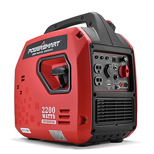 Powered Portable Inverter Generator,1900W Rated & 2000W Peak Watts Super Quiet Generator,Fuel Shut Off,Gas Generator for Outdoors Camping Travel Hunting Emergency,CARB Compliant Red/Black,PS5025