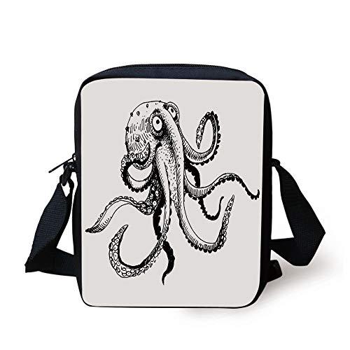 Octopus Decor,Smiling Shy Octopus Posing Restaurant Comic Fun Doodle Art Illustration Print,Black White Print Kids Crossbody Messenger Bag Purse