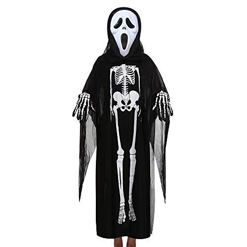 Kapuzen-Terror Reaper - Halloween-Kostüm - Kinder Kostüm Halloween Skelett Cape Cloak Mantel +Maske+Handschuhe 3Pcs Outfits Set Halloween Karneval Fasching von Innerternet