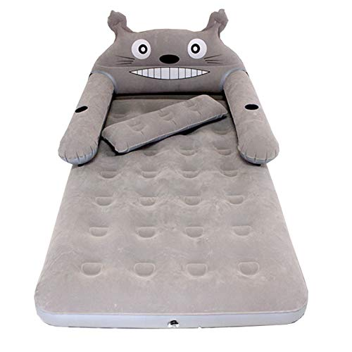 VIVITG Totoro Cartoon Bed Cute Inflatable Comfort Portable Folding Sleeping Bag with Backrest Soft Bed, Built in Electric Pump for Bedroom Furniture,200 * 150 * 20cm
