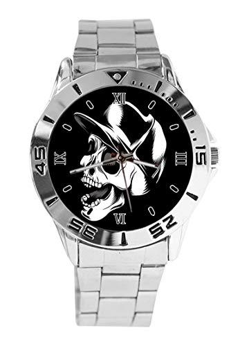 Quarz-Armbanduhr mit Baseballkappe, Totenkopf-Design, modisch, für Damen und Herren, analog, Edelstahl, silberfarben