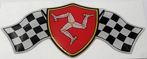 3D Doming Aufkleber Wappen Zielflagge Isle of Man