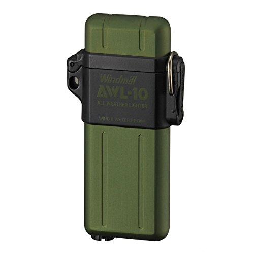 ライター ターボライター 防水 電子 アウトドア 耐風対応 軽量 シンプル プレゼント ウインドミル AWL-10(グリーン)