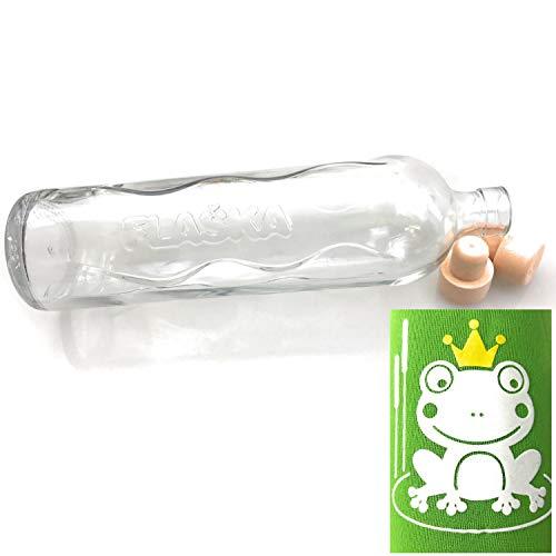 Kerafactum Design Symbol Frosch Neopren Trinkflasche Wasserflasche 0,30 Ltr. Flaska Glas Wasser Trink Flasche Glasflasche zum regelmäßigen Trinken Wassertrinken 2 Korken und 1 Flaschenbürste