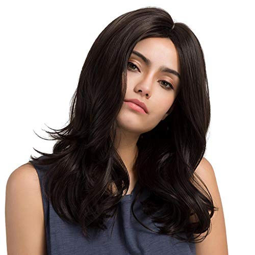 UD Women Synthetic Artificial Full Head Hair Wig Cosplay Long Curly Wavy NO Bangs Natural Black Wigs Costume Fancy Party
