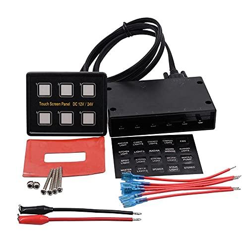 Cierre el Panel Conmutador Voltímetro Combinación Panel 6 Gang, Rocker Panel del Interruptor 12V / 24V para el Barco del Coche Universal