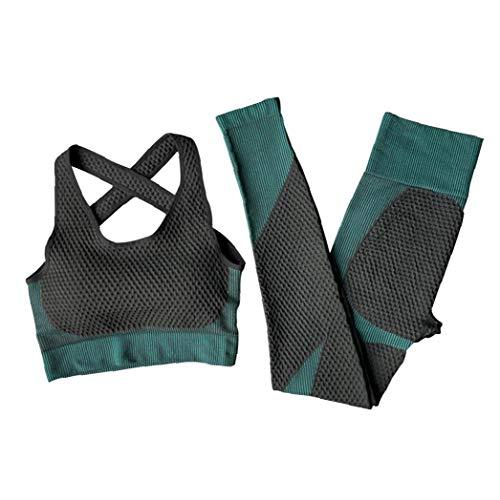 Aardich Las Mujeres Traje Yoga Deporte Pantalones Sujetador de Trajes de Entrenamiento de Mujer XL 2PCS Verde negruzco