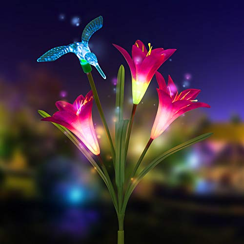 Solar Lights Outdoor,New Version Solar Garden Lights with Lily Flowers Hummingbird Decorative Lights,Mother's Day Gift,Waterproof Multi-Color Changing LED Garden Lights for Yard, Patio (1 Pack,Purple)