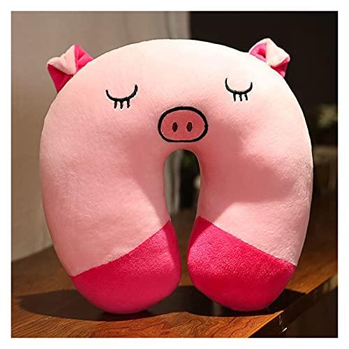 ppqq Varios Tipos de Almohadas para Todos Almohadas de Cuello, Almohada de Viaje en Forma de U Soft and Slow Rebound Space Dibujos Animados Cuello de Cama Oficina Almohada (Color : Pink Pig)