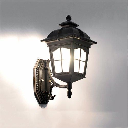 KMYX Européenne Étanche Mur Lampe Extérieure Étanche Patio Pour Escaliers Allée Balcon Corridor Jardin Villa Lumières Extérieure Mur Lanterne (Color : Black-Height 32.5cm)