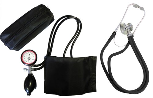 Blutdruckmessgerät 2-Schlauch Oberarm + Rappaport Doppelschlauch Stethoskop schwarz Doppelkopf Tiga-Med Qualität