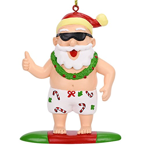 Tree Buddees Surfing Santa Christmas Surfer Ornament