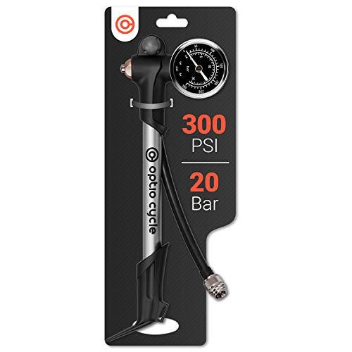 Optio Cycle Bomba de alta presión con manómetro, bomba de alta presión máx. 300 psi/20 bar, bomba con indicador de presión, horquilla de suspensión, suspensión trasera, repuesto para Fox Rockshox