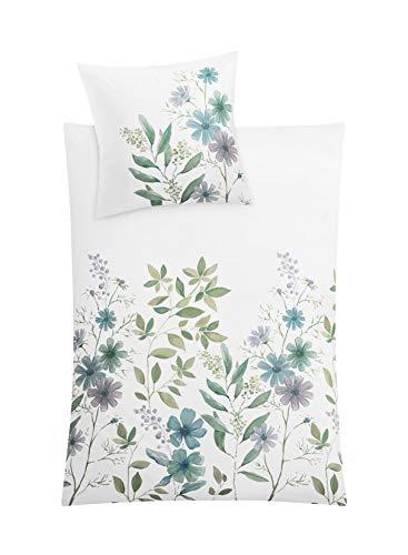 Kleine Wolke Botanica - Biancheria da letto in cotone, multicolore, 135 x 200 cm + 80 x 80 cm