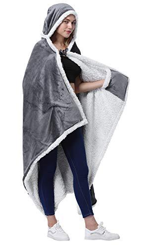 Catalonia Classy Poncho als Decke, Kapuzendecke Sherpa Cosy Plüsch Fleece Tragbare Decke für Erwachsene Frauen Männer Kinder Kuschelüberzug zu Hause oder im Freien, 125 x 200 cm, Grau