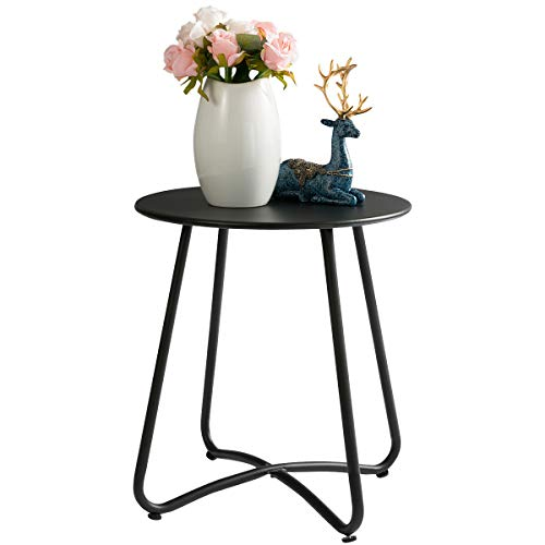 HollyHOME Small Round Patio Metal Side Snack Table, Accent Anti-Rust Steel Coffee Table for Garden, Modern Weatherproof Outdoor End Table, (H) 17.55' x(D) 15.60', Black