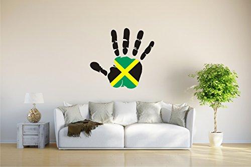 Wandtattoo - CH - Fahne in der Hand - Jamaica - Jamaika - 75x70 cm