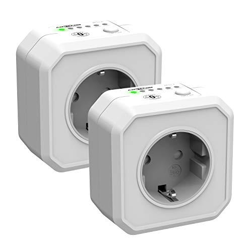 Ansmann Timer Steckdose AES1, Schaltbare Energiespar-Steckdose mit Countdown Timer für Heizlüfter, Bügeleisen, Kaffeemaschine, Waschmaschine usw. (Zeitintervall per Schalter wählbar) - 2 Stück