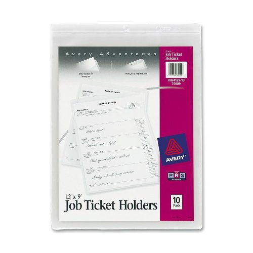 Avery Job Ticket Holders, Heavy Gauge Vinyl, 9 x 12 Inches, 10 per Pack (75009),Clear