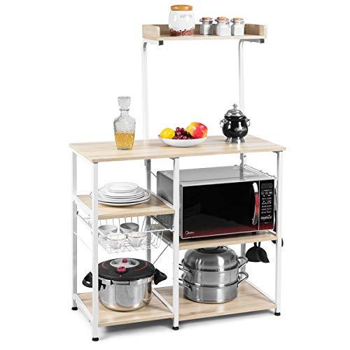 COSTWAY Estante de Cocina con Canasta de Metal y Ganchos Estante de Horno Microondas para Especias Utensilios de Cocina Platos Almacenamiento (Beige)