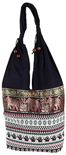 GURU SHOP Sadhu Bag, Ethno Schulterbeutel, Hippie Tasche aus Thailand - Weiß/rot, Herren/Damen, Baumwolle, Size:One Size, 30x30x10 cm, Bunter Stoffbeutel