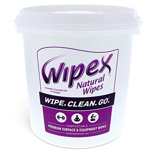 Gym Wipes by Wipex – Natural Fitness Equipment Cleaning with Lavender & Vinegar for Yoga Mats, Peloton Bike & Fitness Equipment, 400ct Bucket