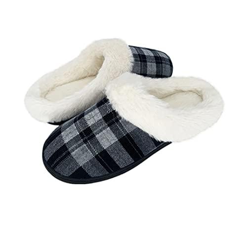 Rinpkop Hausschuhe Herren Winter Wärme Flauschige Plüsch Hausschuhe Memory Foam Pantoffeln Damen Home rutschfeste Plaid Slippers, Schwarz, M (40/41 EU)