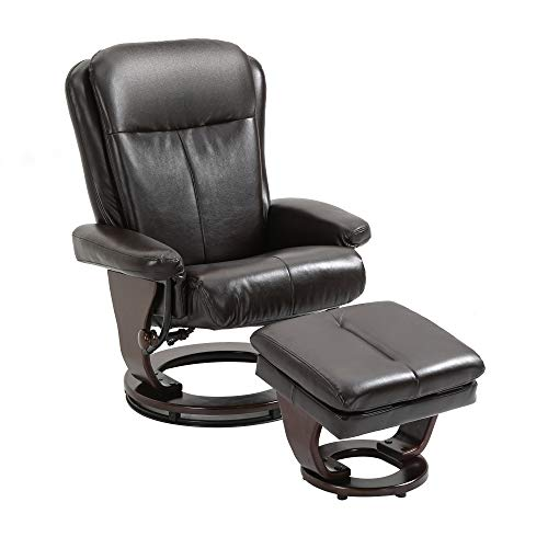 HOMCOM 2 Piece Faux Leather Swivel Recliner and Ottoman Set with Reclining Backrest, Storage Footrest & Round Base for Living Room, Bedroom, Office, Brown