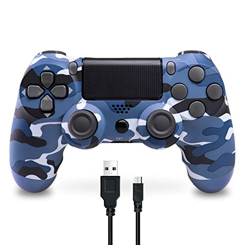 Wireless Controller für PS4, Wireless Controller kompatibel für Playstation 4/PS4 Slim/PS4 Pro, Wireless Controller mit doppelter Vibration/6-Achsen-Gyro/Turbo/Touchpad (blaue Tarnung)