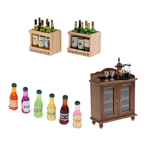 SM SunniMix 1/12 Juego de Muebles en Miniatura de Casa de Muñecas - Gabinete de Vino con 6 Botellas de Vino, Botellero con 1 Botella, 4 Vasos, 6 Bebidas Y 12 Piez
