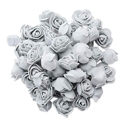 Fenteer 100 Stück Künstliche Schaum-Rose Kopf Blumensträuße DIY Hochzeit Partei Home Decoration - Grau