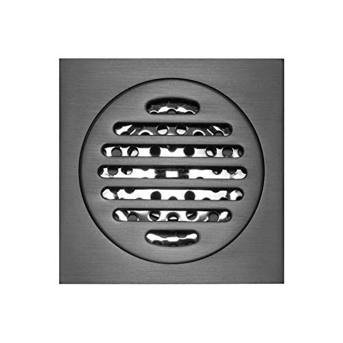 HNBMC Kupfer quadratischer runder Bodenabfluss, 100x100mm schwarz gebürstet, Deodorant bodendusche mit haarsieb,Hidl002