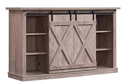 Pamari Wrangler Sliding Barn Door TV Stand, Ashland Pine