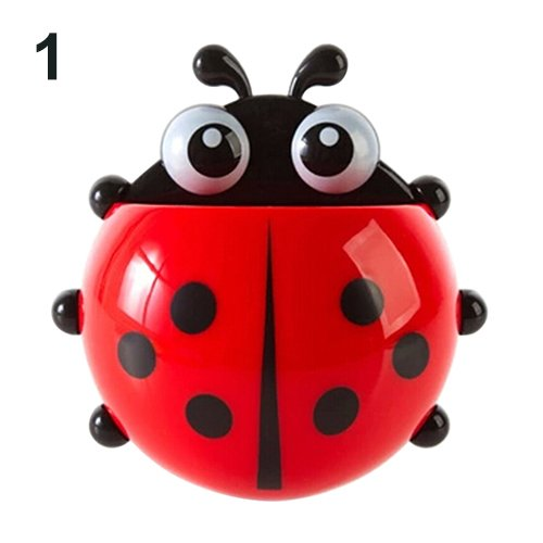 Braceus Decorative Bathroom Storage Organizer Toothbrush Holder Ladybug Toothbrush Holder Suction Ladybird Toothpaste Wall Sucker Bathroom Sets,Perfect for Toothbrush, Toothpaste Red