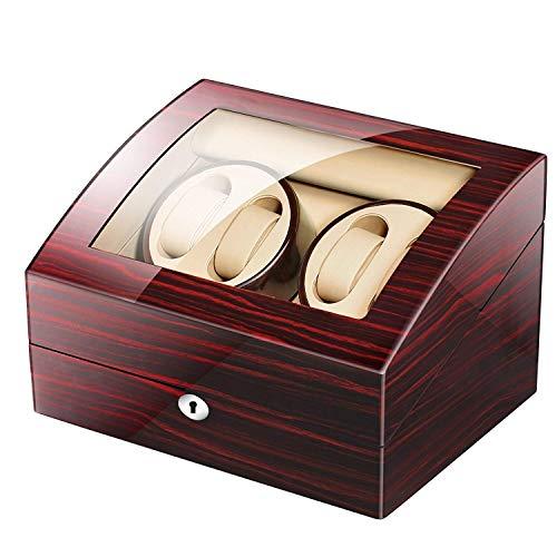 WYFX Relojes Caja automática de enrollador de Reloj con 4 Posiciones de enrollador 6 Espacios de Almacenamiento 4 Modos Relojes de Concha de Madera enrollador automático de Reloj Individual