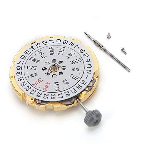Huakii Movimiento de Reloj de Pulsera con Pantalla de Fecha Simple y Elegante, Movimiento de Calendario Dual, Movimiento de Reloj de Gran reemplazo de Metal Duradero, para Taller de Relojes