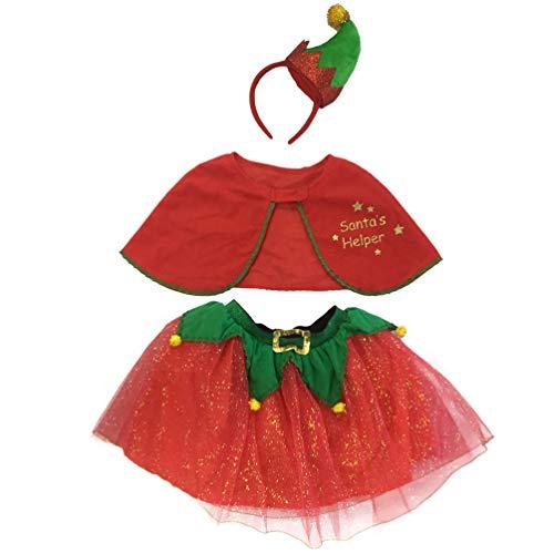 VALICLUD Disfraz de Navidad para Nios Disfraz de Ayudante de Santa Claus Disfraz de Elfo Rojo Y Verde para Nias 1 Juego