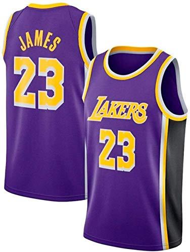 Zxwzzz Camisa De New Lakers No.23 Lebron James Retro De Baloncesto Uniforme De Baloncesto De Los Hombres del Verano del Bordado De Las Tapas del Juego De Baloncesto (Color : D, Size : X-Large)