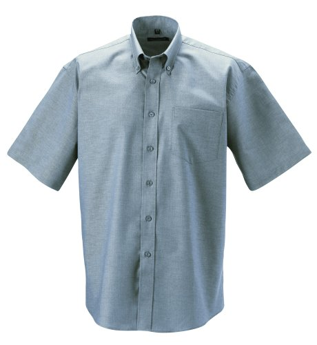 Z933 Kurzärmeliges Oxford Hemd Oberhemd Herrenhemd XXL / 45/46,Silver