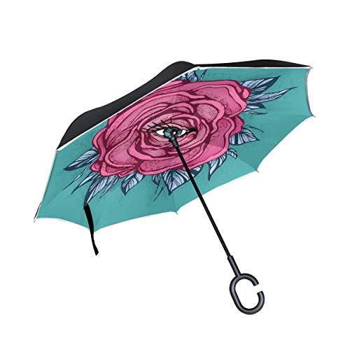 ISAOA Großer umgekehrter Regenschirm, doppelschichtig, Winddicht, UV-Schutz, Regenschirm, für Auto, Regen, Outdoor, C-förmiger Griff, selbststehend, rosa Tattoo-Rosen-Regenschirm