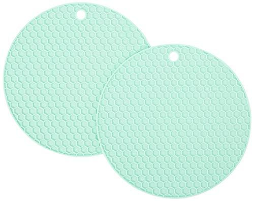HG HGROPE Resistant Hot Pads Silicone Pot Holder Trivet Mats,Spoon Rest, Jar Opener Garlic Peeler, Green